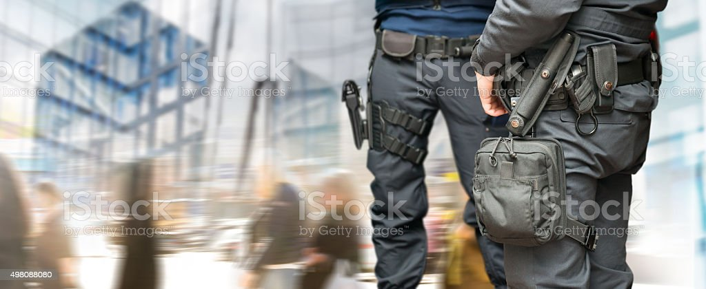 Armed policemen stock photo