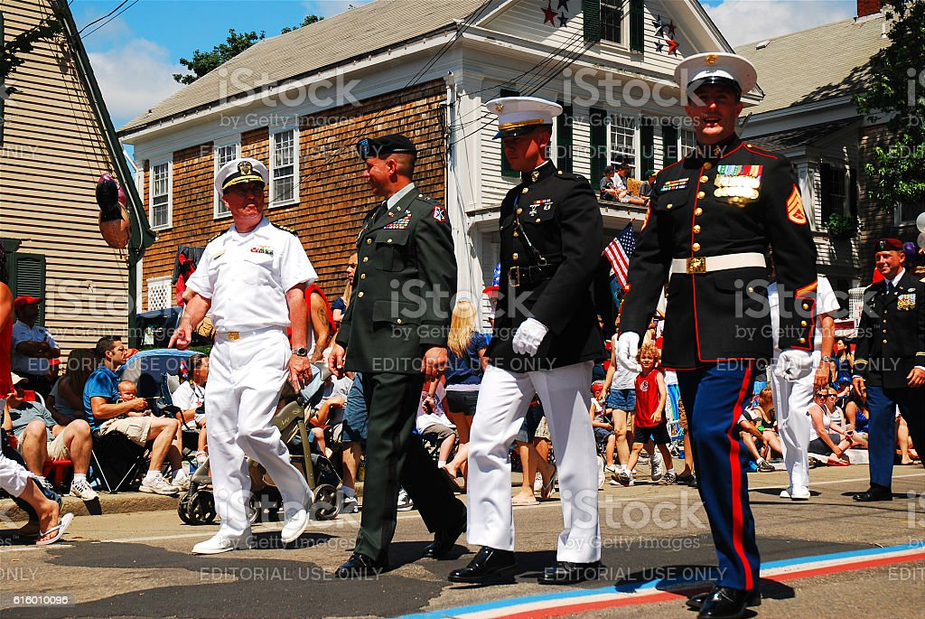Armed Service Salute, Bristol Rhode Island stock photo