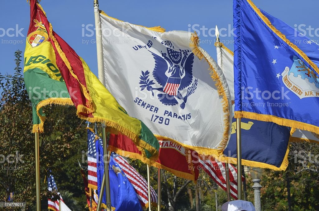 Armed Services Flags stock photo