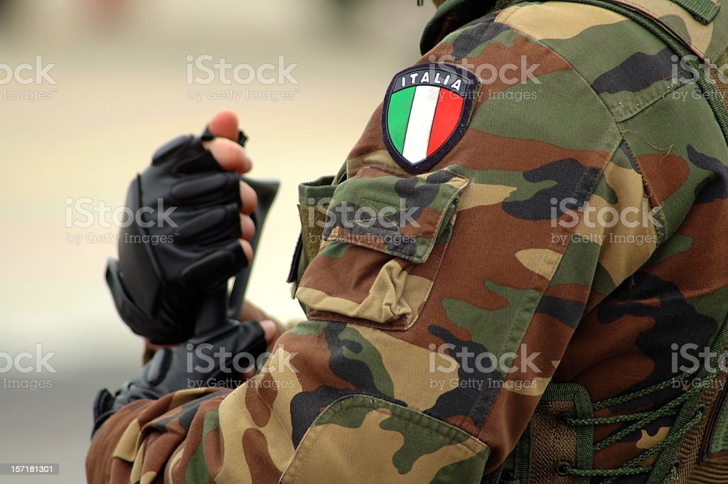 armed soldier - detail 2 stock photo