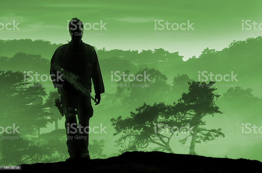 Armed Soldier Night Vision royalty-free stock photo