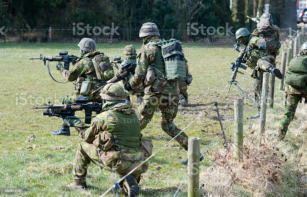 Armed special forces training stock photo