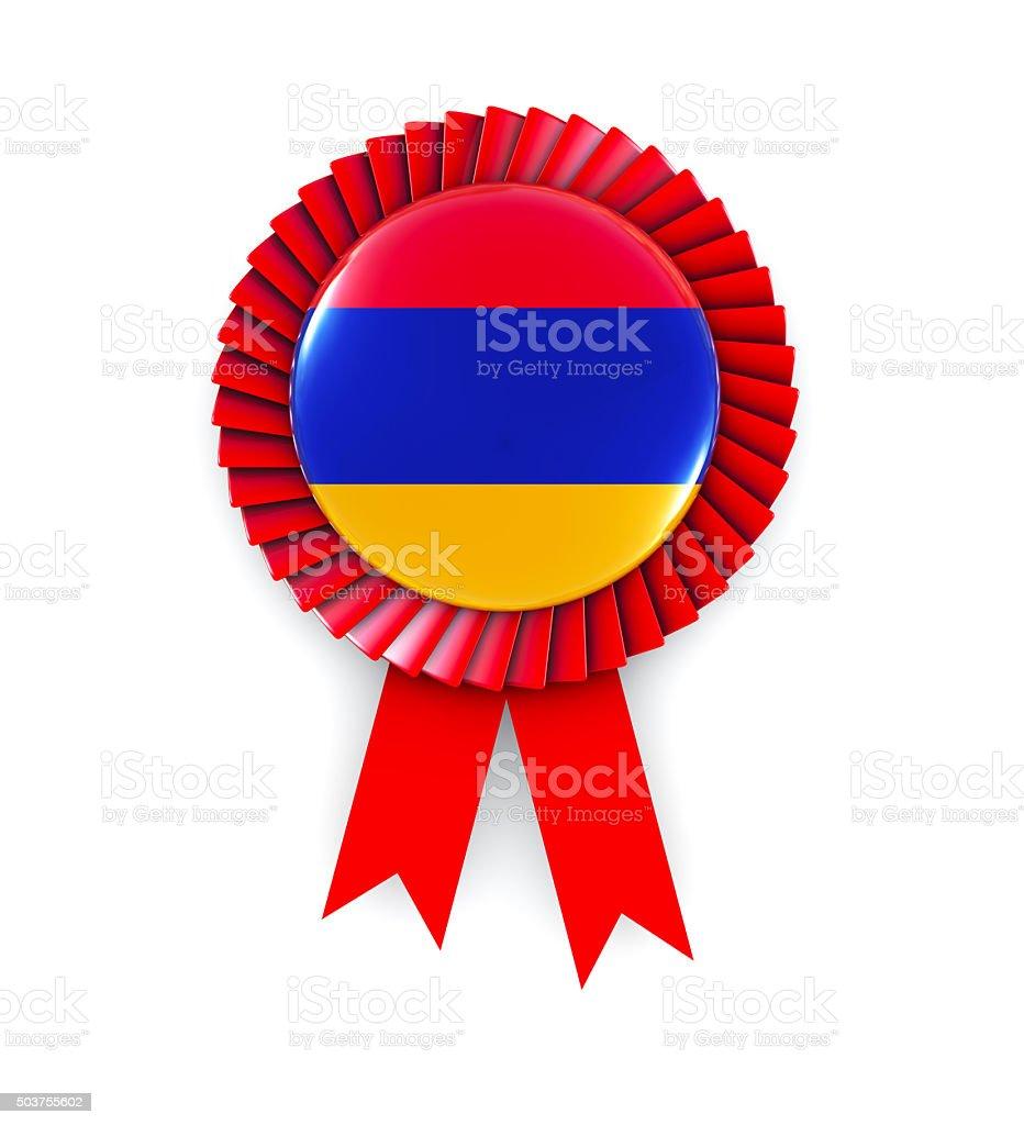 Armenia Flag on Cockade stock photo