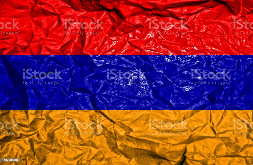 Armenia vintage flag on old crumpled paper background stock photo