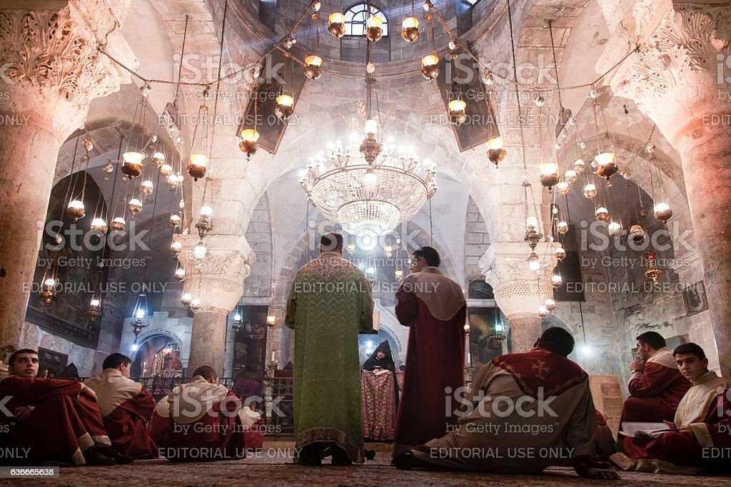 Armenian Apostolic clergy in the Holy Sepulchre stock photo