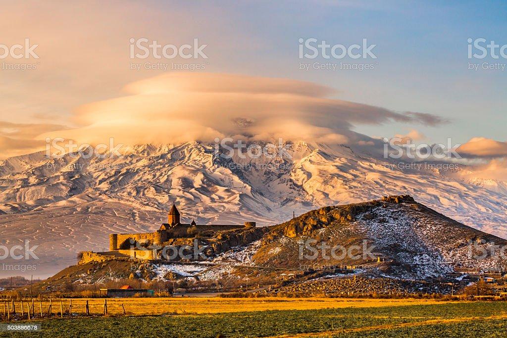 Armenian church with Aarrat mountain at sunrise stock photo