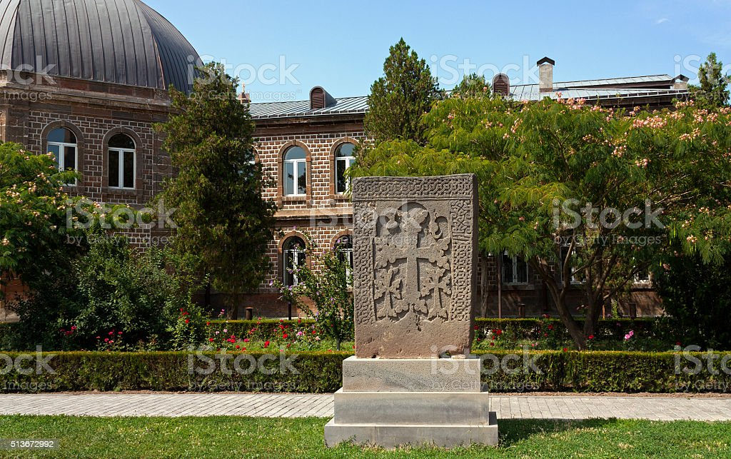 Armenian cross stones in Echmiadzin territory stock photo