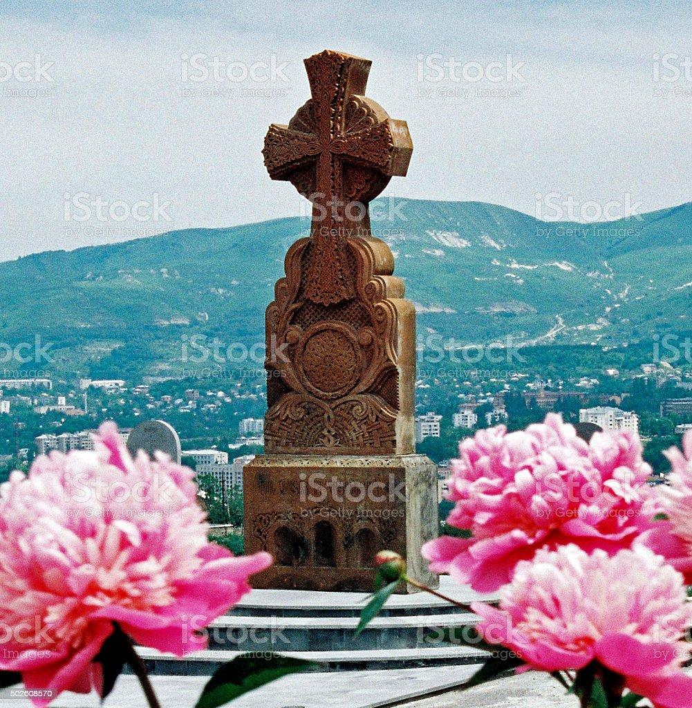 Armenian cross stones. stock photo