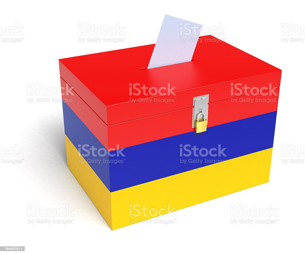 Armenian Flag Ballot Box stock photo