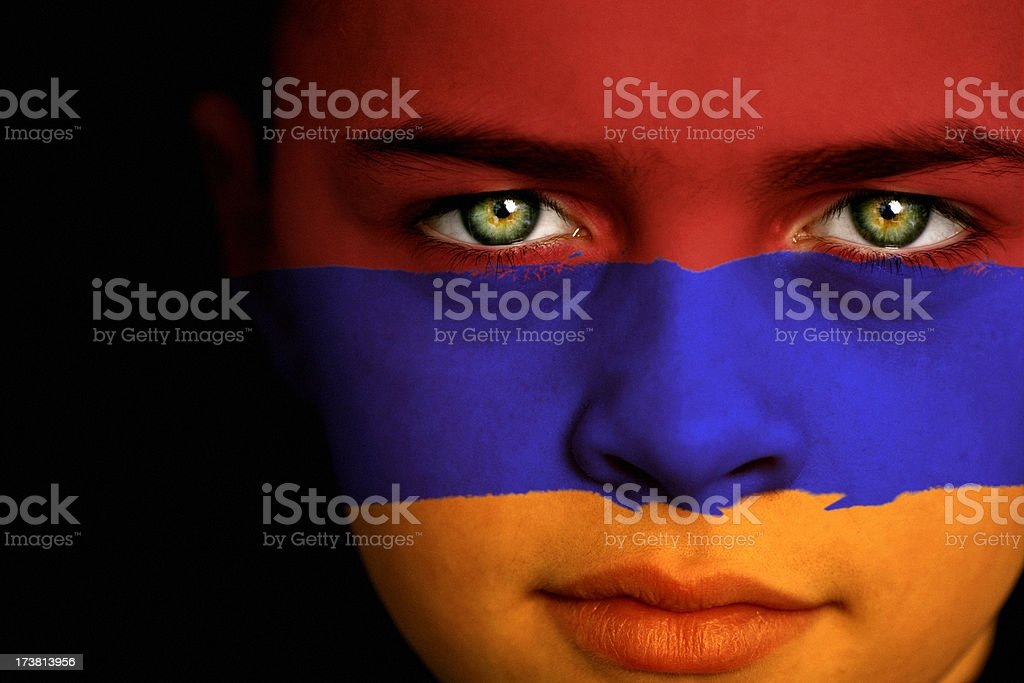 Armenian flag boy stock photo