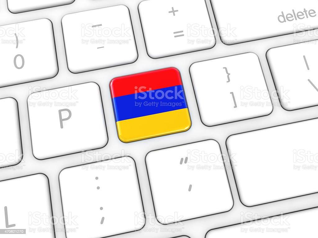 Armenian Flag on Computer Keyboard stock photo