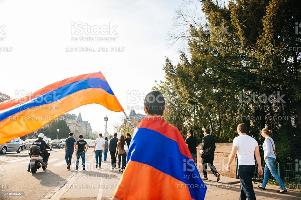 Armenian genocide 100th rememberance march in France stock photo