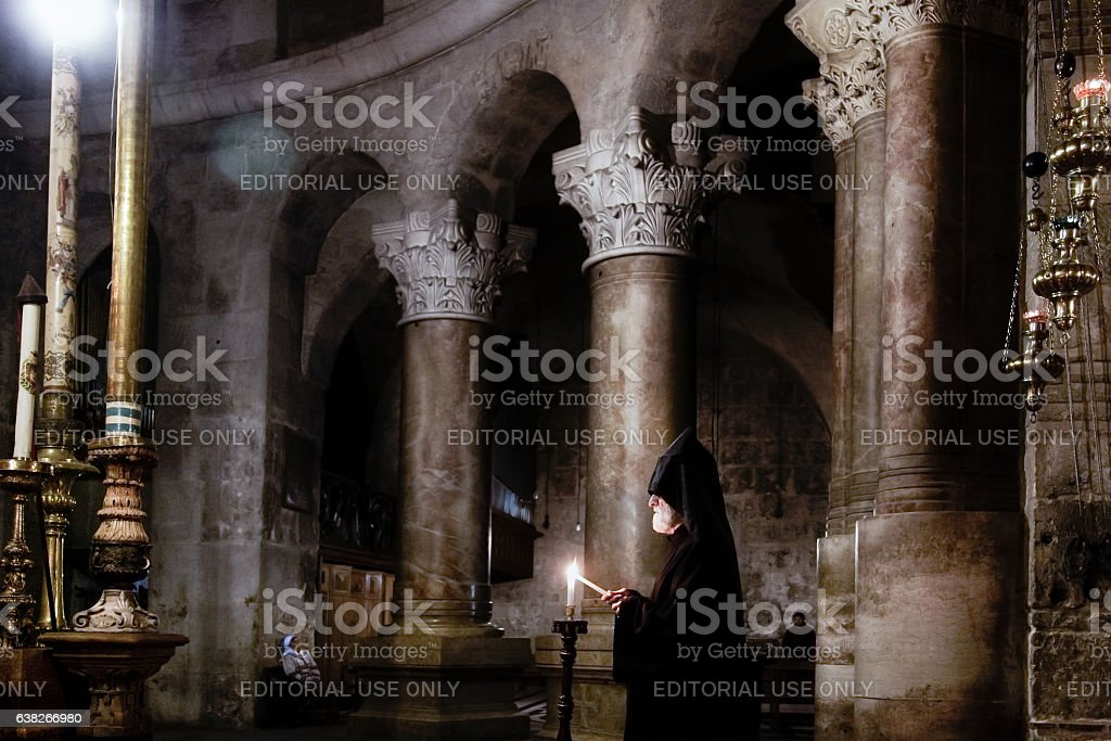 Armenian priest in Holy Sepulchre stock photo