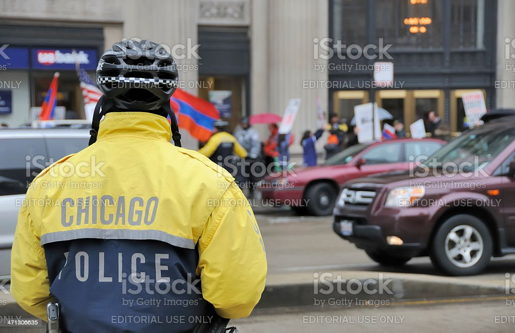 Protesters in Chicago stock photo