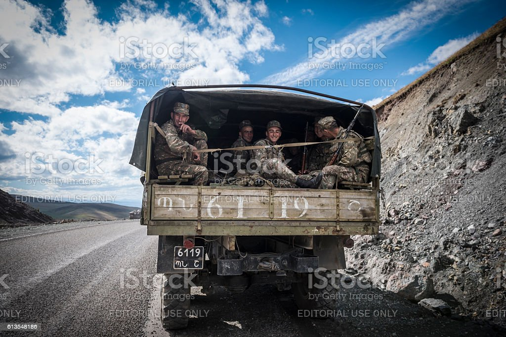 Armenian soldiers leaving Nagorno-Karabakh stock photo
