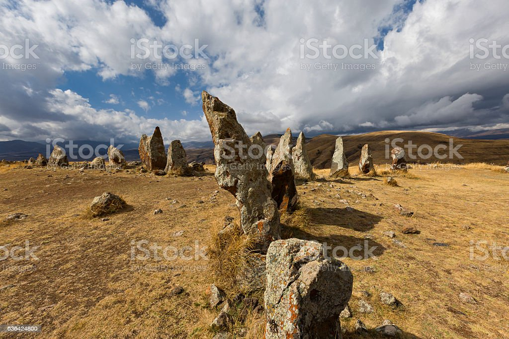 Armenian stone henge known also as Zorats Karer. stock photo