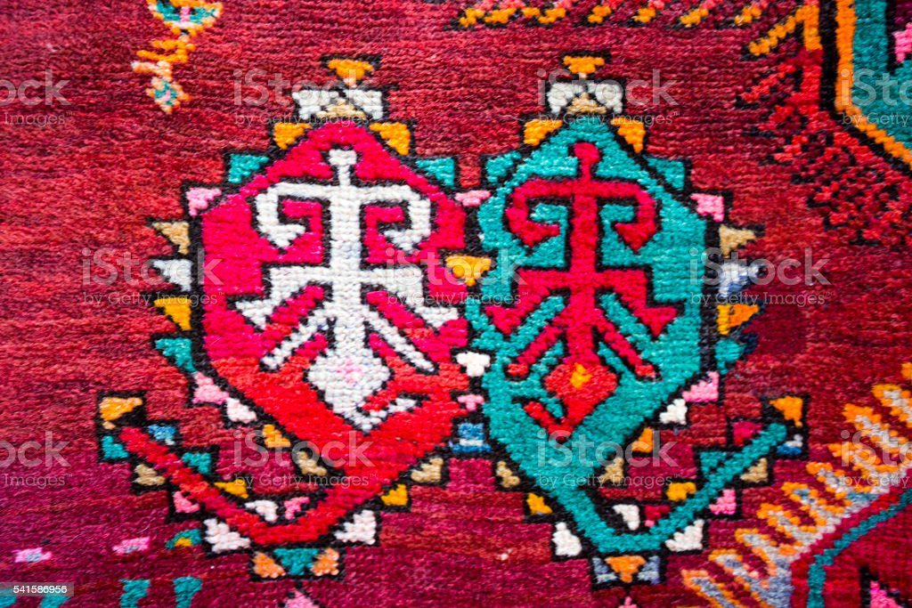 Armenian traditional carpets and rugs stock photo