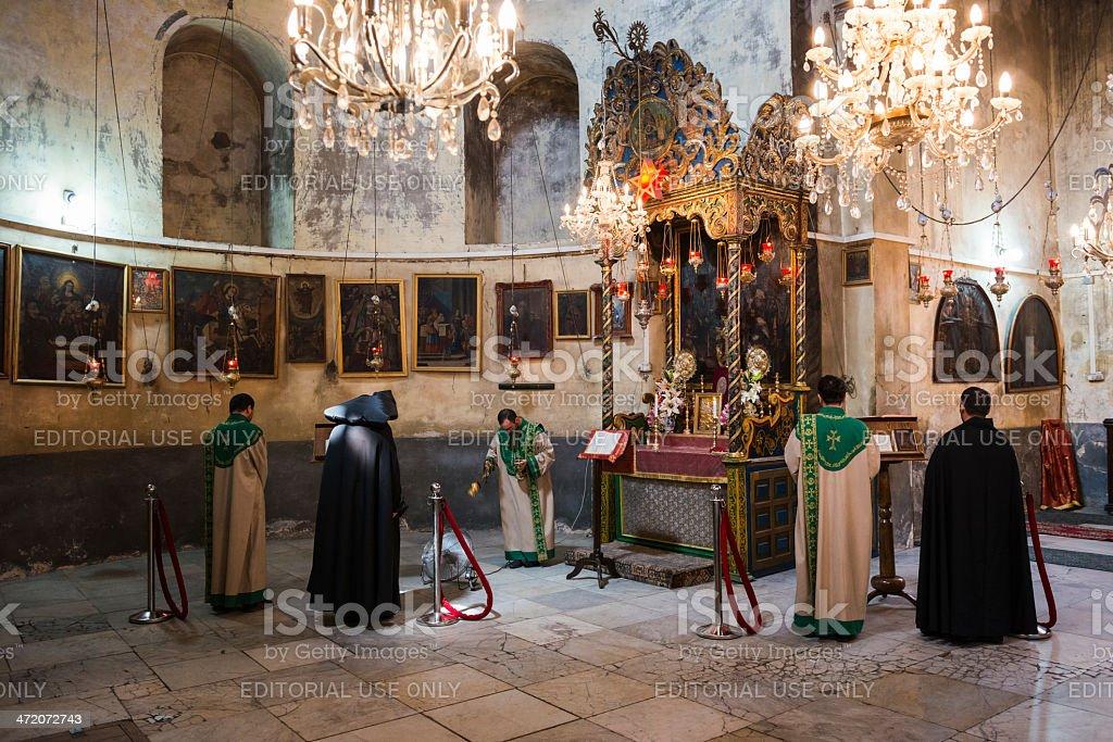 Armenian worship at Church of the Nativity stock photo