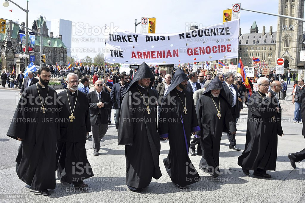 Armenians commemorate the genocide of 1915 stock photo
