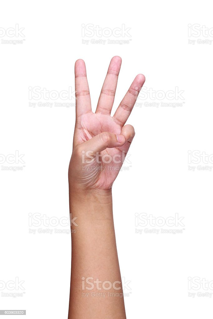 arm,hand and fingers showing number three isolated on white stock photo