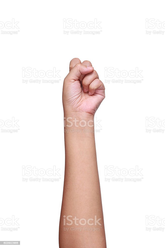 arm,hand and fingers showing number zero isolated on white stock photo