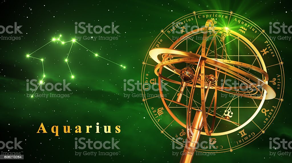 Armillary Sphere And Constellation Aquarius Over Green Background stock photo