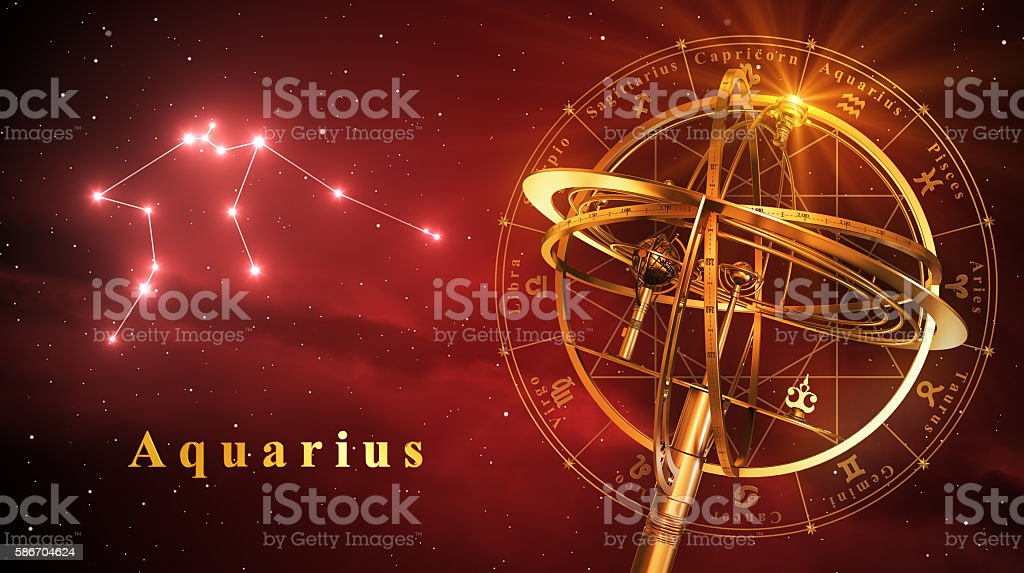 Armillary Sphere And Constellation Aquarius Over Red Background stock photo
