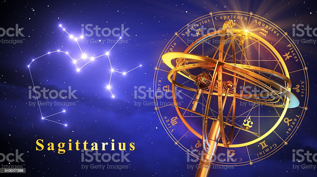 Armillary Sphere And Constellation Sagittarius Over Blue Background stock photo