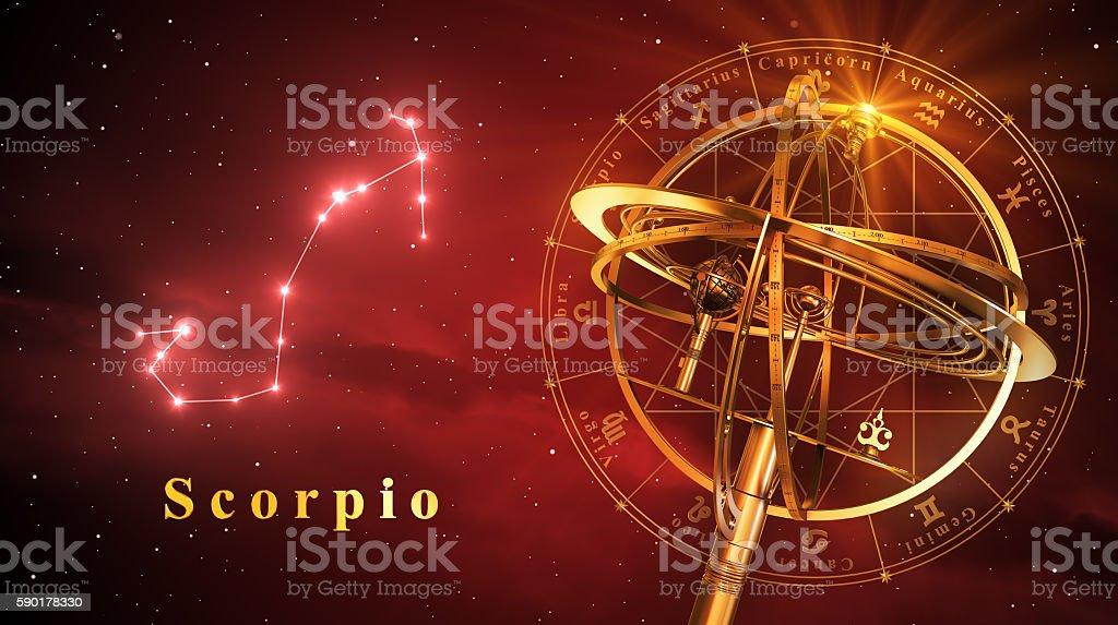 Armillary Sphere And Constellation Scorpio Over Red Background stock photo