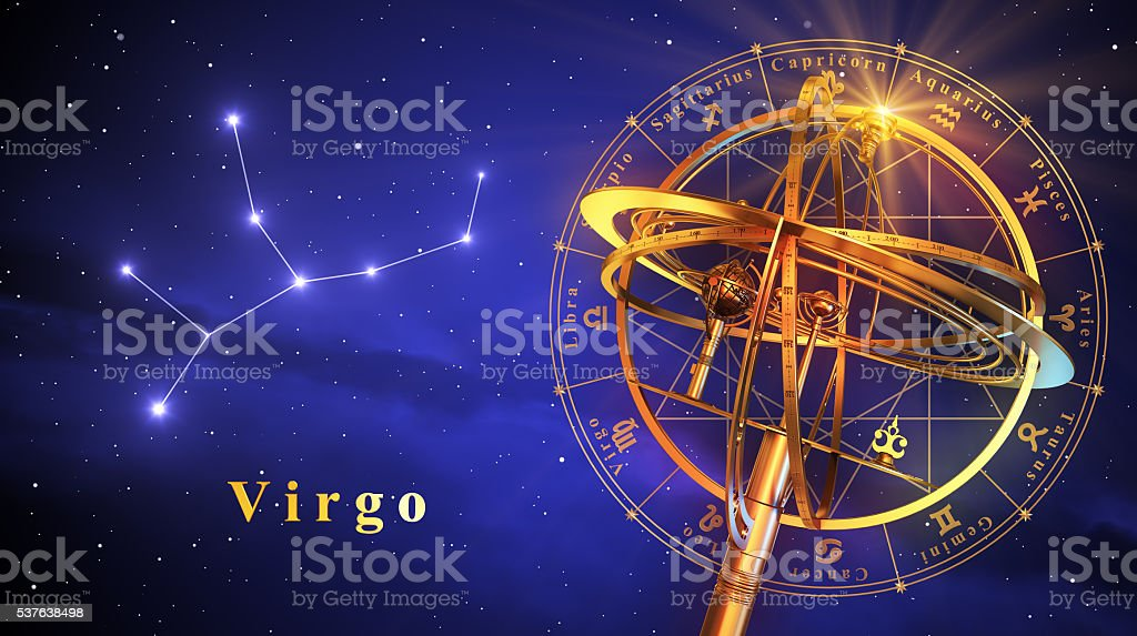 Armillary Sphere And Constellation Virgo Over Blue Background stock photo