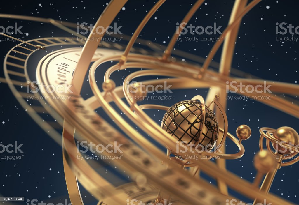 Armillary Sphere On Blue Background stock photo
