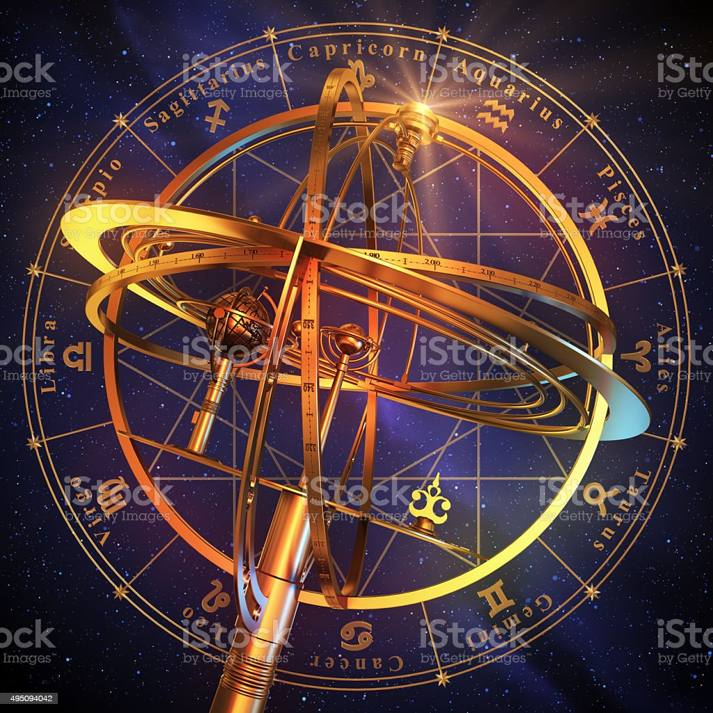 Armillary Sphere With Zodiac Symbols Over Blue Background. stock photo