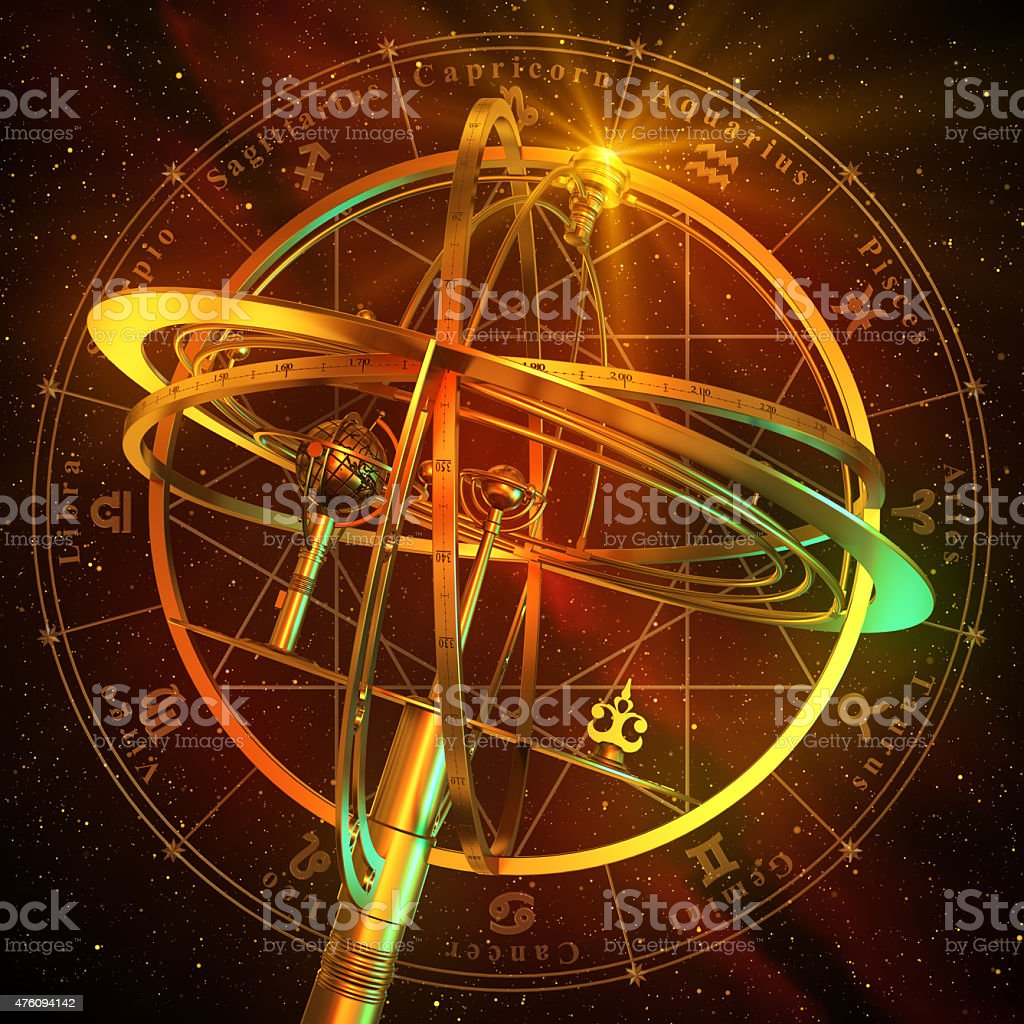 Armillary Sphere With Zodiac Symbols Over Red Background stock photo