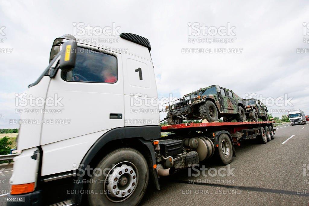 Armored car tiger transportation stock photo