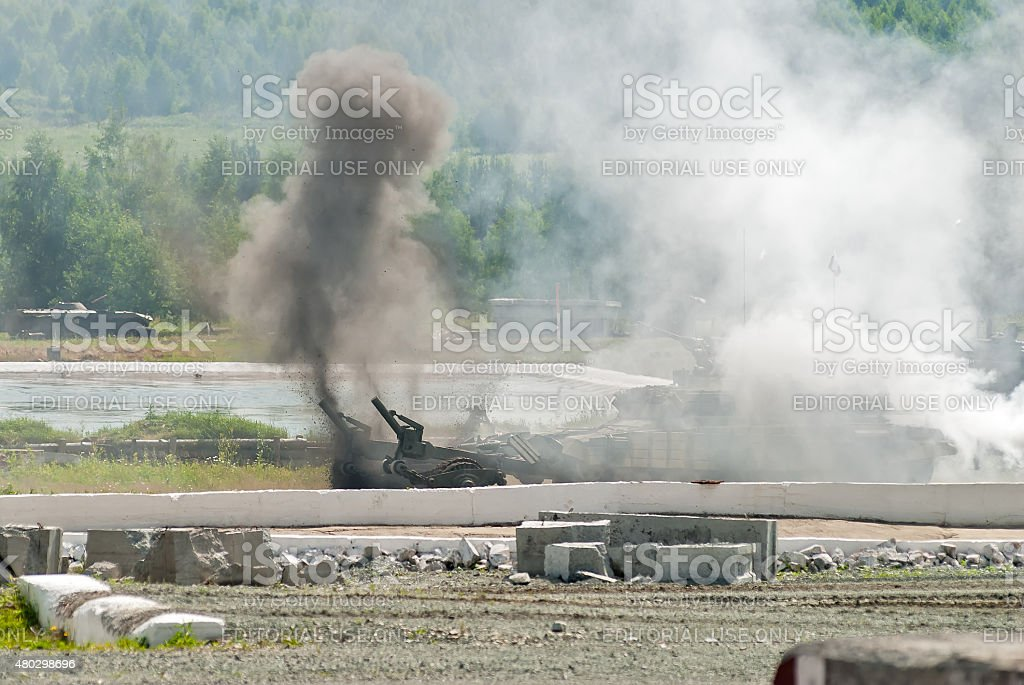 Armored deminer BMR-3M in demining process. Russia stock photo
