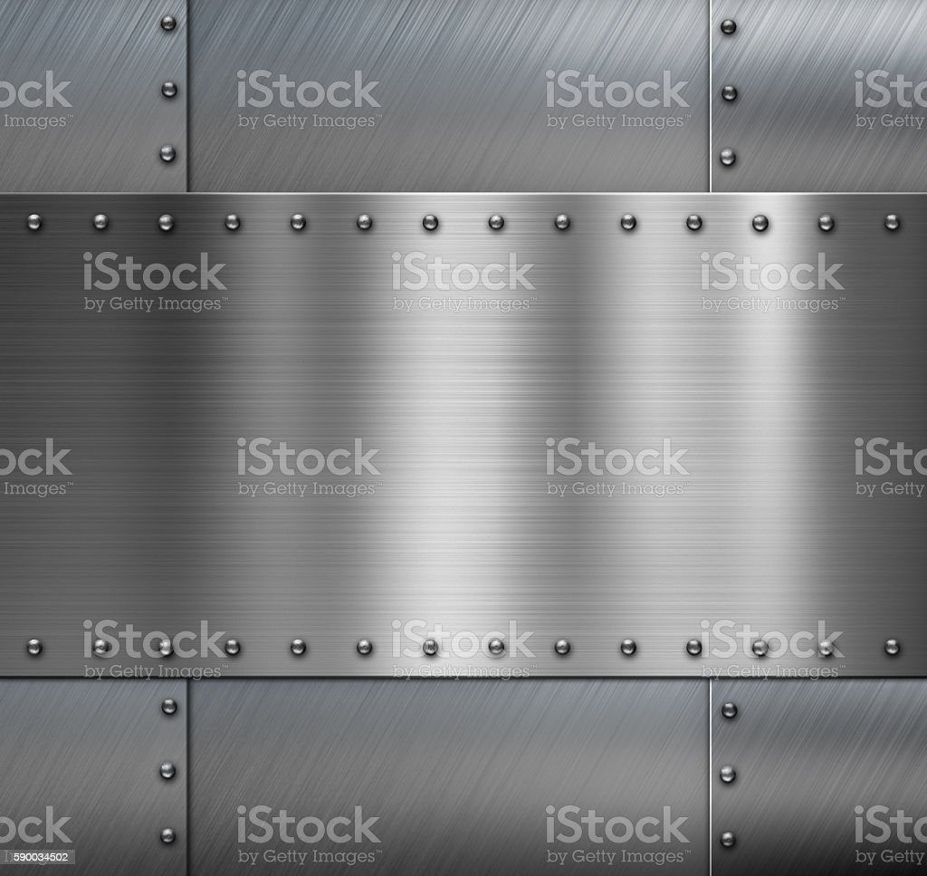 Armored metal background with rivets stock photo