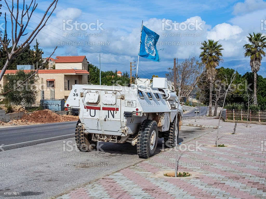 UN armored personnel carrier, Lebanon stock photo