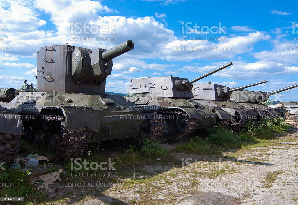 Armored vehicles during on the shore of the Kola Bay stock photo
