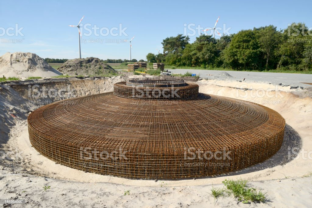 Armoring for a concrete fundament of a wind turbine royalty-free stock photo