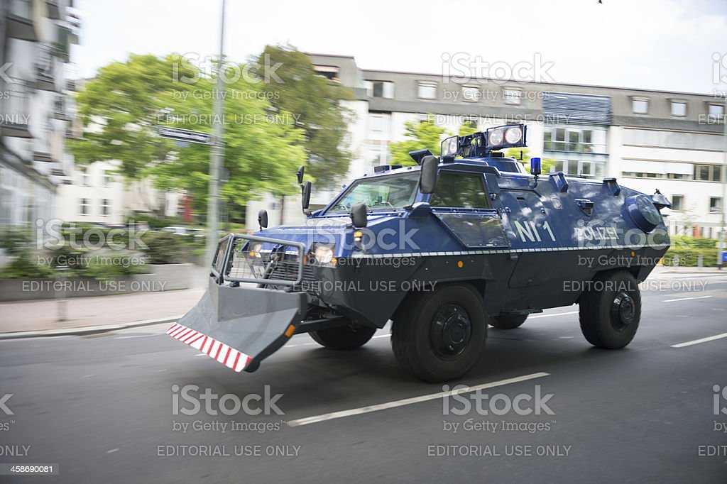 Armoured German police truck in downtown Frankfurt during Blockupy prostests stock photo