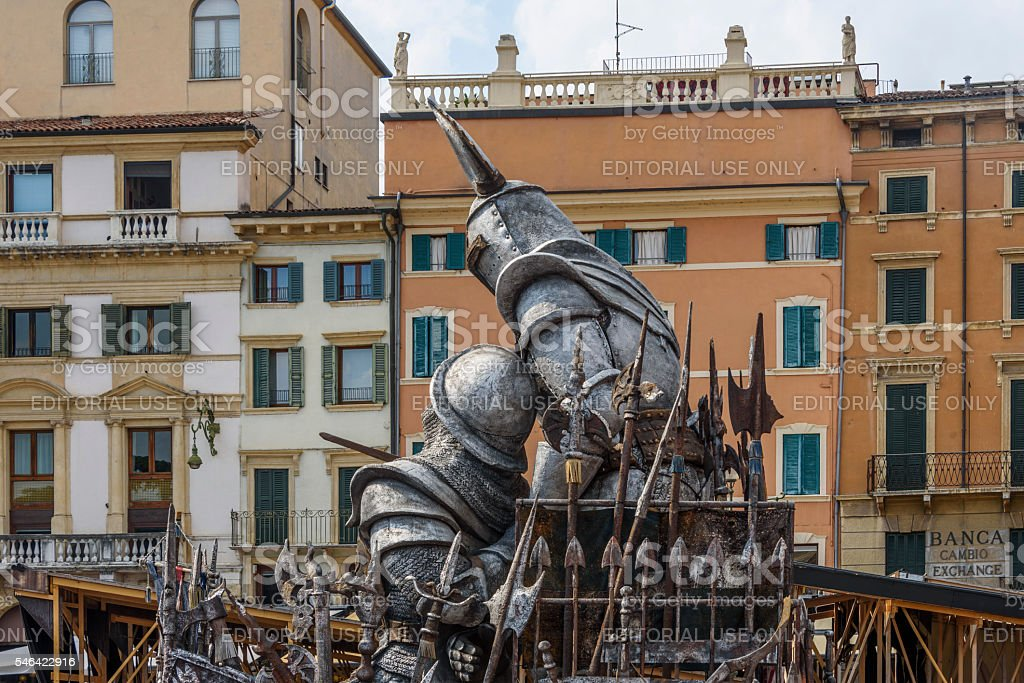 Armoured knights depicted in Verona stock photo