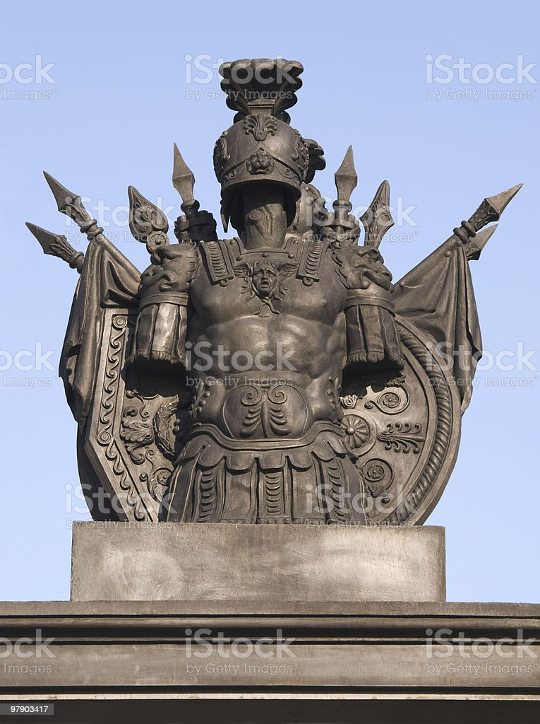 Armoured monument in sky royalty-free stock photo