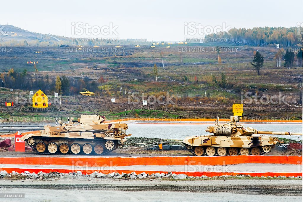Armoured recovery vehicle BREM-1M in action stock photo