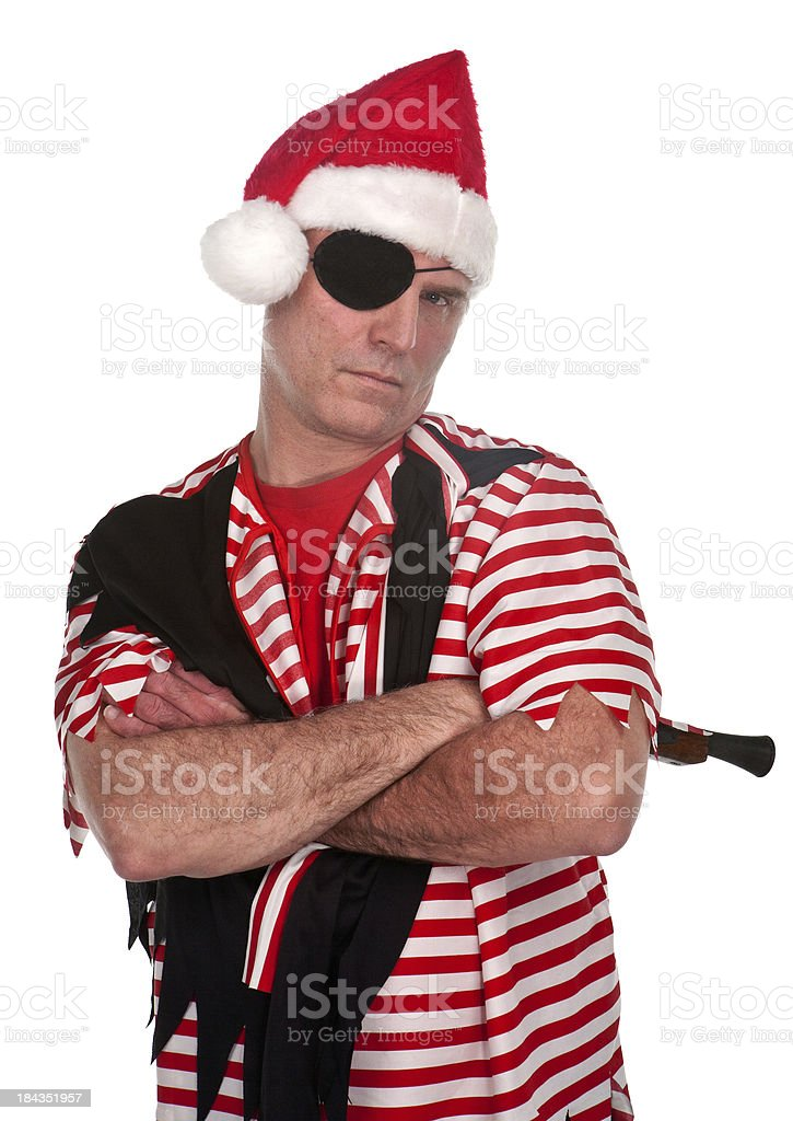 arms crosed pirate in santa hat stock photo