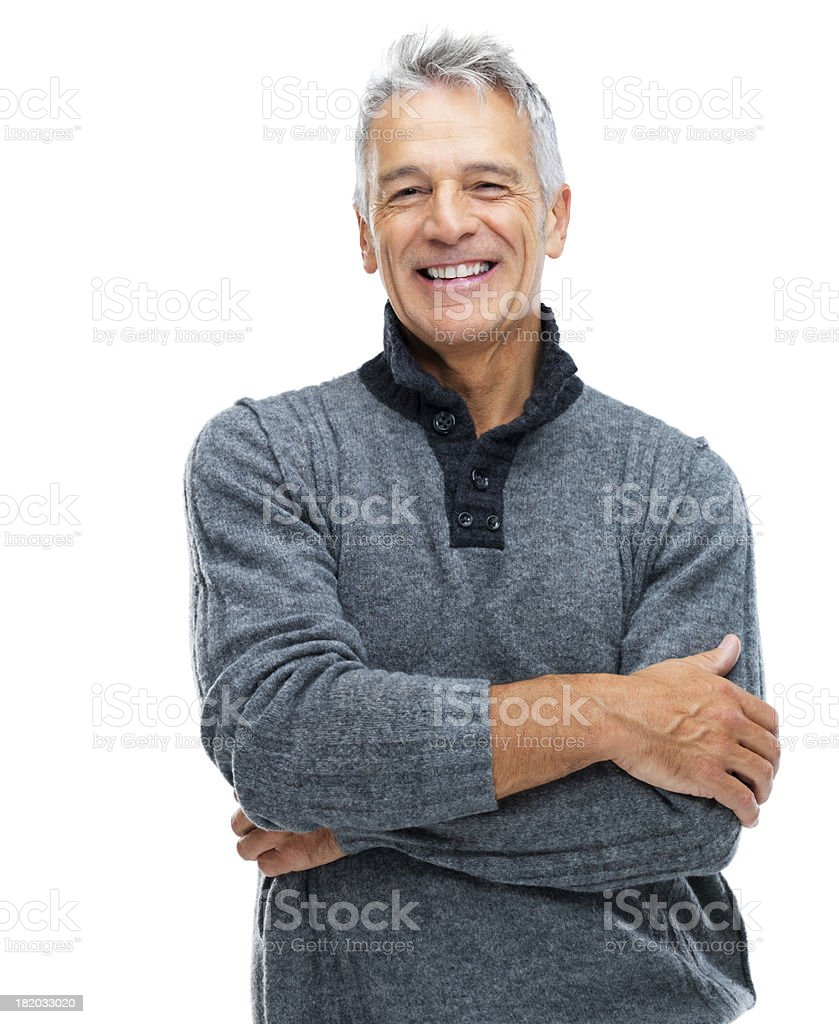 Arms crossed and radiating confidence stock photo