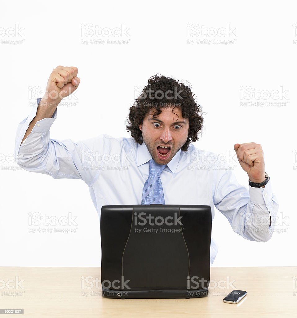 Arms Raised on Laptop royalty-free stock photo