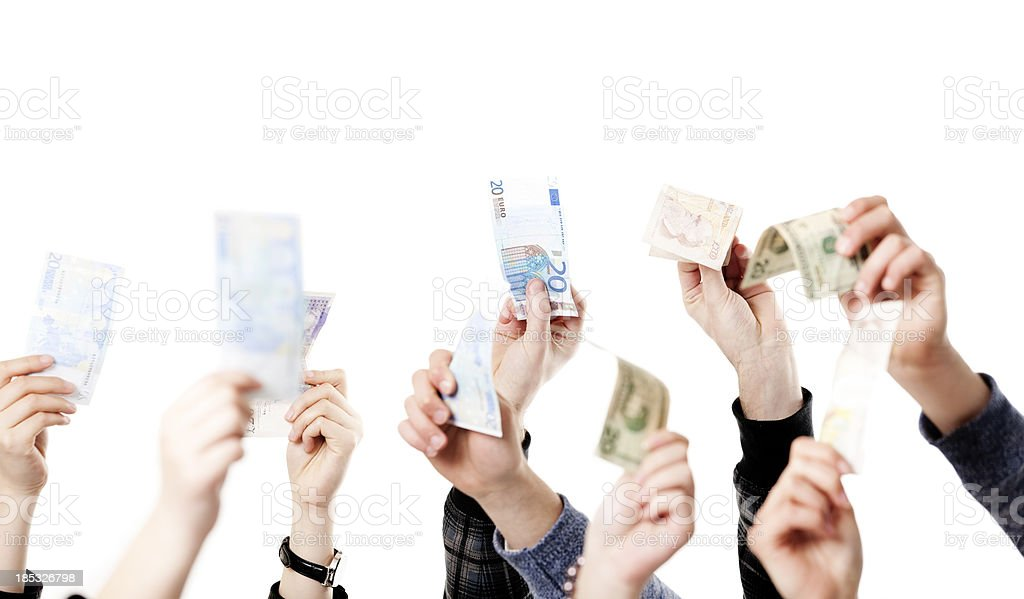 Arms raised with paper money royalty-free stock photo