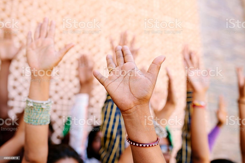 Arms up, India stock photo