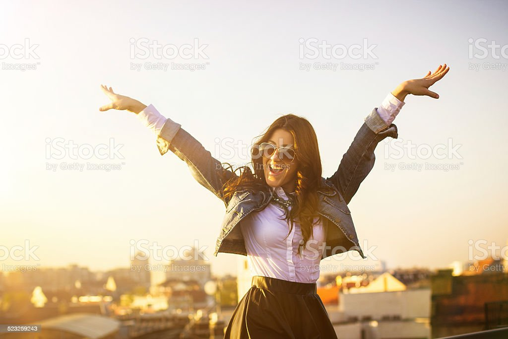 Arms wide open stock photo
