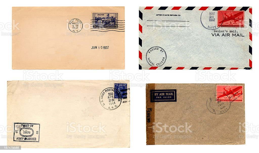 US Army and Navy envelopes stock photo
